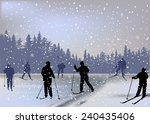 illustration with skiers in...   Shutterstock .eps vector #240435406