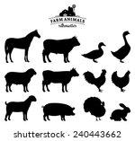 Stock vector vector farm animals silhouettes isolated on white 240443662