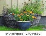 Three Flowerpots Put Up Agains...