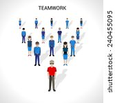 teamwork concept with group of... | Shutterstock .eps vector #240455095