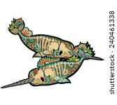 two stylized skeleton narwhal.... | Shutterstock .eps vector #240461338