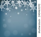 snowflakes and bokeh on blue... | Shutterstock .eps vector #240463192