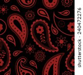 Seamless Black and Red Paisley background. Hand Drawn vector pattern.
