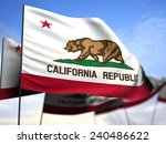 flags of california on blue sky ...   Shutterstock . vector #240486622
