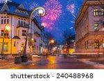 New Year firework display in Zakopane, Poland - stock photo