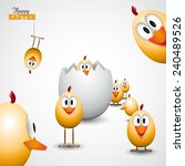 funny easter eggs chicks  ... | Shutterstock .eps vector #240489526