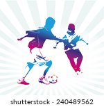 colorful silhouette of young... | Shutterstock .eps vector #240489562