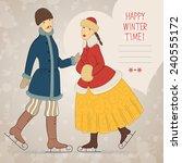 vector postcard with retro...   Shutterstock .eps vector #240555172