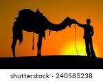 rajasthan village. silhouette...   Shutterstock . vector #240585238