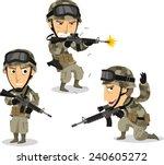Soldier With Machine Gun Helme...