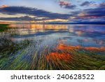 peaceful river sunset with long ... | Shutterstock . vector #240628522