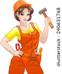 pretty girl with helmet and... | Shutterstock .eps vector #240631768