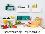 A Kitchen With Healthy Food An...