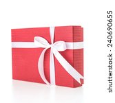 christmas red gift box isolated ... | Shutterstock . vector #240690655