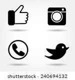 black icon set.social media... | Shutterstock .eps vector #240694132