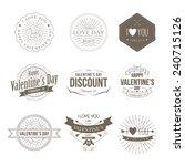 badges valentine vintage   Shutterstock .eps vector #240715126