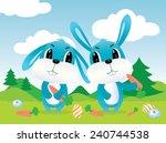 cute happy cartoon rabbit...