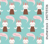 pattern with cute cartoon... | Shutterstock .eps vector #240755536
