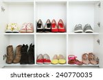collection of shoes on shelves | Shutterstock . vector #240770035