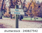 Signpost in a park or forested...
