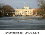 Lazienki royal historic park in Warsaw. Palace on Water. Capital of Poland. - stock photo