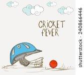 batsman helmet with red ball... | Shutterstock .eps vector #240866446