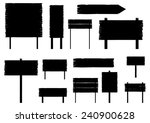 silhouettes of old road signs.... | Shutterstock .eps vector #240900628