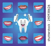 cartoon smiling tooth with set... | Shutterstock .eps vector #240938626