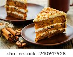 Stock photo carrot cake with walnuts prunes and dried apricots on a dark wood background tinting selective 240942928