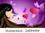 girl sends kisses in the shape... | Shutterstock .eps vector #24094909