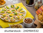 new year's eve meal   canapes... | Shutterstock . vector #240984532