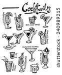 cocktails doodles hand drawn... | Shutterstock .eps vector #240989215