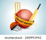 red ball with bat  helmet and... | Shutterstock .eps vector #240991942