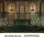 Fantasy Church Altar With...