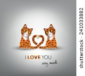 funny couple of cute cats in... | Shutterstock .eps vector #241033882
