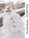 kids made a snow man in the...