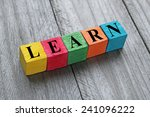 word learn on colorful wooden... | Shutterstock . vector #241096222