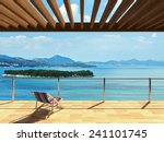 Stock photo large terrace with loungers and beautiful sea views 241101745