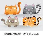 Cute Cartoon Cats Peering Over...