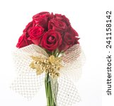 Stock photo red rose bouquet on white background 241158142