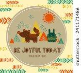 tribal animal card | Shutterstock .eps vector #241171486