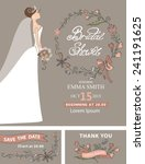 vintage bridal shower set.cute... | Shutterstock .eps vector #241191625