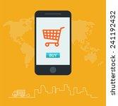 online shopping on mobile | Shutterstock .eps vector #241192432