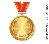 Gold Medal On Red Ribbon...