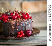 chocolate cake with cherries on ... | Shutterstock . vector #241277902