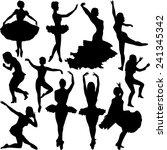 dancer silhouettes | Shutterstock .eps vector #241345342