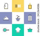 flat line icons of kitchen... | Shutterstock .eps vector #241364086