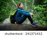 active healthy woman hiking in... | Shutterstock . vector #241371412
