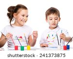 cute boy and girl showing her... | Shutterstock . vector #241373875