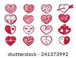 sketch heart set and valentine... | Shutterstock .eps vector #241373992